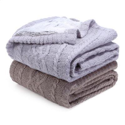 Berkshire Blanket Sweaterknit Reversible Faux Fur Tipped
