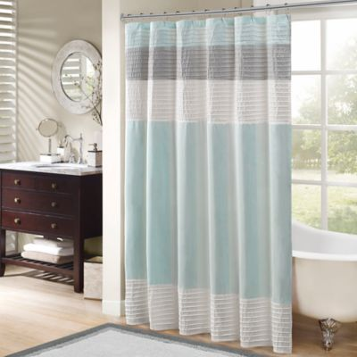 Madison Park Amherst 72 Inch Shower Curtain In Aqua Bed Bath Amp Beyond