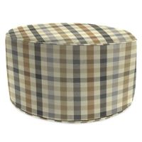 Outdoor Round Pouf Ottoman in Sunbrella Connect Dune ...