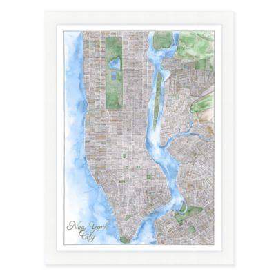 Buy New York City Map Watercolor Wall Art from Bed Bath