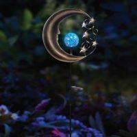 Solar Moon Garden Light Stake in Silver/Blue - Bed Bath ...