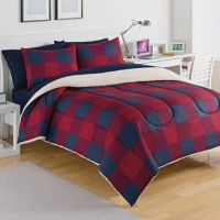 IZOD Buffalo Plaid Reversible Comforter Set in Red - Bed ...