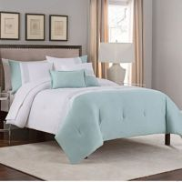 Embroidered Colorblock 5-Piece Comforter Set in Green ...