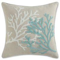Coastal Living Coral Life Square Throw Pillow in Aqua ...