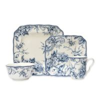 222 Fifth Adelaide 16-Piece Square Dinnerware Set in Blue ...