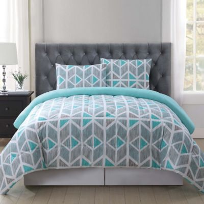 Truly Soft Malene Comforter Mini Set in GreyAqua  Bed