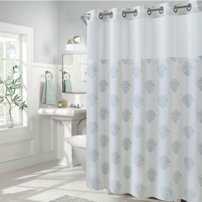 Hookless Coral Reef and Cabana Stripe Shower Curtains  Bed Bath  Beyond