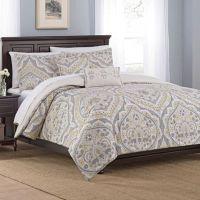 Floral Damask 5-Piece Comforter Set in Gold - Bed Bath ...