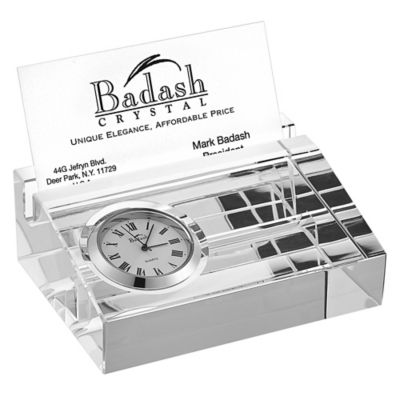 Badash Business Card Holder With Inlaid Clock Bed Bath