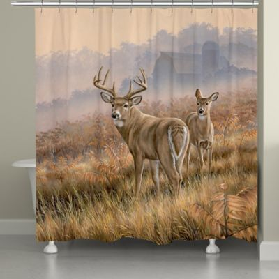 Laural Home Deer in Lifting Fog Shower Curtain  Bed Bath