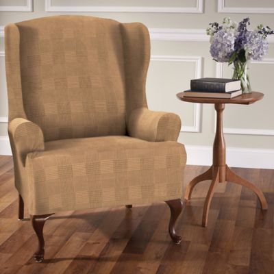 holiday christmas chair covers portable picnic table set stretch plaid wingback slipcover - bed bath & beyond