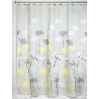 Buy InterDesign Daizy 54 Inch X 78 Inch Shower Curtain In GreyYellow From Bed Bath Amp Beyond