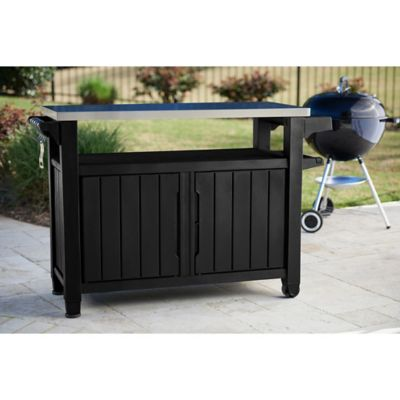 keter unity outdoor xl prep table in graphite
