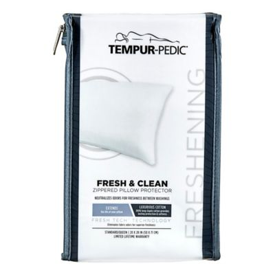 tempur pedic fresh and clean odor neutralizing zippered pillow protector in white