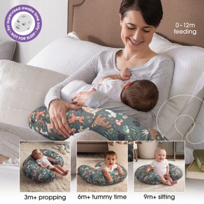 boppy original nursing pillow and positioner in forest animals