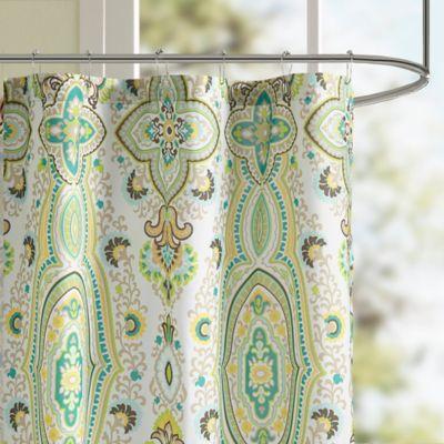 intelligent design tasia shower curtain in green