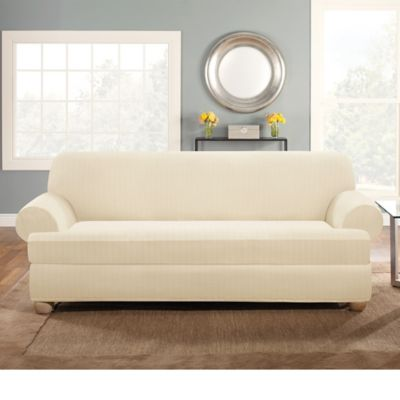 slipcover sofa bed bath beyond clearance sofas dfs sure fit® stretch pinstripe 2-piece t-cushion ...