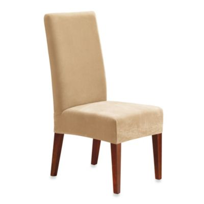 sure fit chair covers bed bath and beyond fur cover fit® stretch pique short dining room slipcover - &