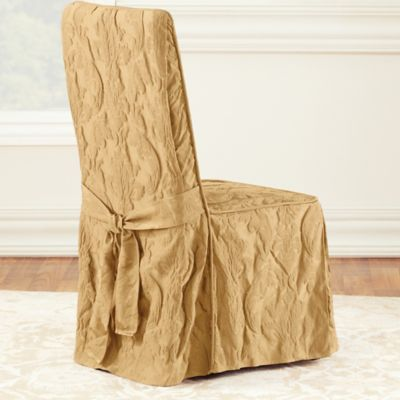 sure fit chair covers bed bath and beyond hanging usa fit® matelasse damask 1-piece long arm dining cover - &