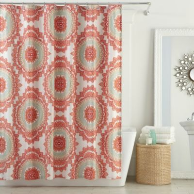 Anthology™ Bungalow Shower Curtain In Coral Bed Bath & Beyond