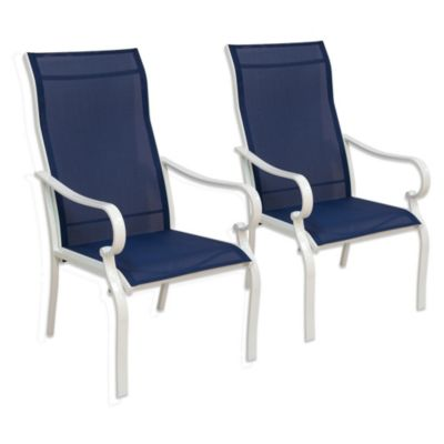 hawthorne oversized sling chairs discount leather in blue (set of 2) - bed bath & beyond