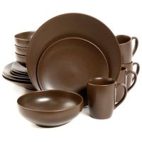 Gibson Paradiso 16-Piece Round Dinnerware Set in Brown ...