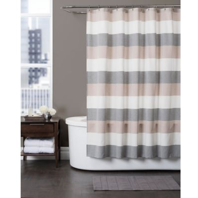 Baltic Linen Yarn Dyed Strata Striped Shower Curtain Bed Bath