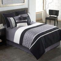 Covington 8-Piece Comforter Set in Grey/Black - Bed Bath ...