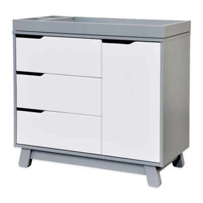 Babyletto Hudson 3Drawer Changer Dresser in Grey and White  buybuy BABY