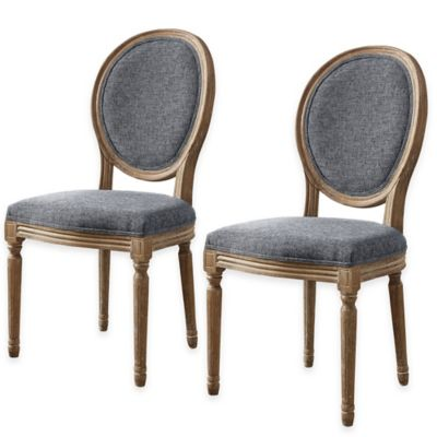 Shiraz Linen Oval Back Dining Chairs Set of 2  Bed Bath