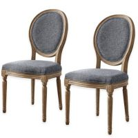 Shiraz Linen Oval Back Dining Chairs (Set of 2) - Bed Bath ...