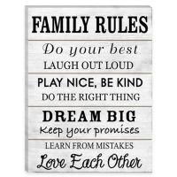 Family Rules Wood Wall Art - Bed Bath & Beyond