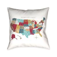 Laural Home Colorful USA Map Throw Pillow - Bed Bath & Beyond