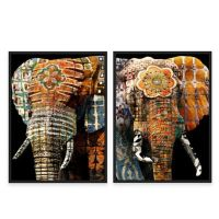 Framed Gicle Tribal Elephant Canvas Wall Art Collection