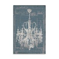 Distressed Chandelier Canvas Wall Art in Blue - Bed Bath ...