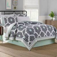 Cooper Reversible Comforter Set in Black/White/Mint - Bed ...