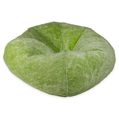 bed bath and beyond lounge chair cover chairs buy round chenille bean bag in lime from &
