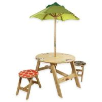 Teamson Kids Outdoor Table and Chairs Set with Umbrella in ...