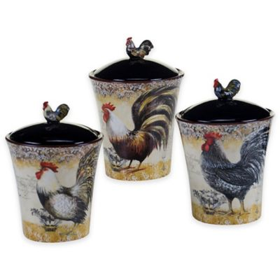rooster canister sets kitchen play accessories buy certified international vintage 3-piece ...
