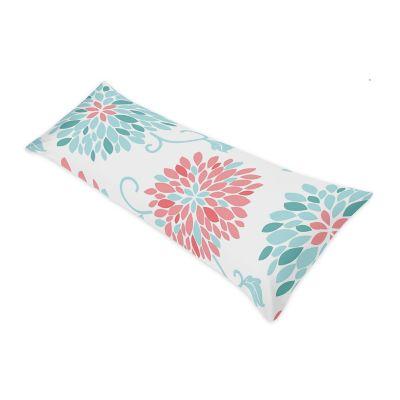 sweet jojo designs emma body pillow case in white turquoise