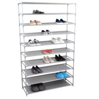Home Basics 10-Tier Plastic and Fabric Wide Shoe Rack in ...