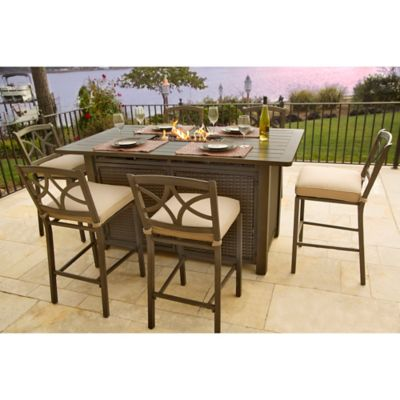 Agio Davenport 5Piece Outdoor Bar Height Fire Pit Set  Bed Bath  Beyond