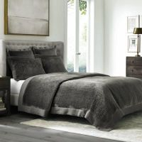 Wamsutta Collection Velvet Coverlet in Grey - Bed Bath ...