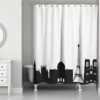 Paris Monuments Shower Curtain in Black/White - Bed Bath ...