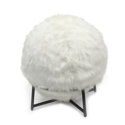 inflatable chair bed bath and beyond office arms replacement parts ball with faux fur cover stand in ivory - &