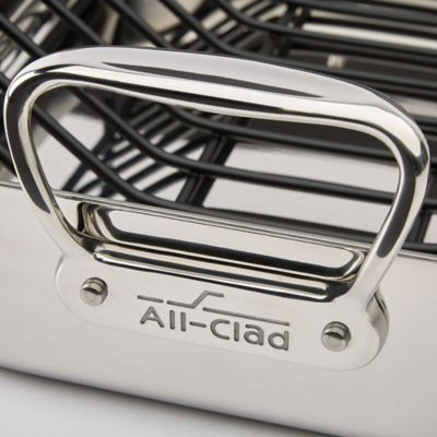 all clad stainless steel roaster with rack