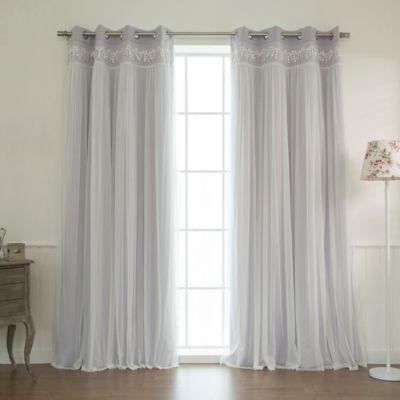 Decorinnovation Sheer Overlay Grommet Top Blackout Window Curtain Panel Pair Bed Bath Amp Beyond