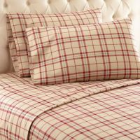 Buy Micro Flannel Carlton Plaid Twin Sheet Set in Tan