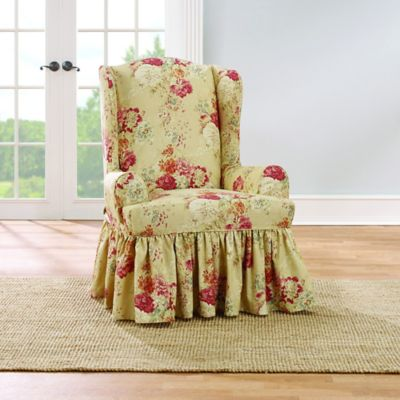 Sure Fit Ballad Bouquet by Waverly Wing Chair Slipcover