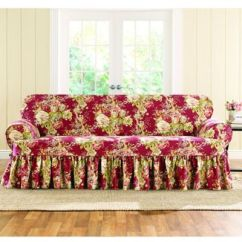 Ruffled Sofa Slipcover Rv Jackknife Frame Buy Sure Fit® Ballad Bouquet By Waverly™ T-cushion ...